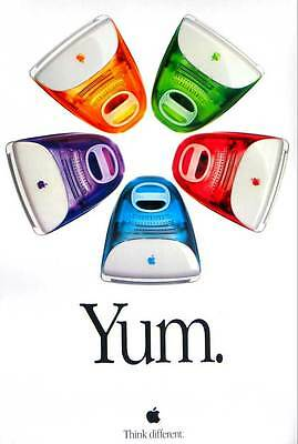 Vintage Apple Computer iMac YUM Poster 1999 Think Different AUTHENTIC Mint Cond.