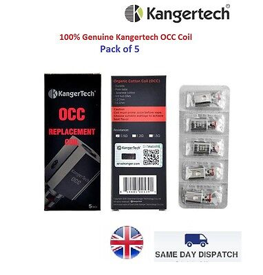 100% Genuine KangerTech Subtank Coil Heads 0.5ohm (5 Pack) OCC Replacement Coil