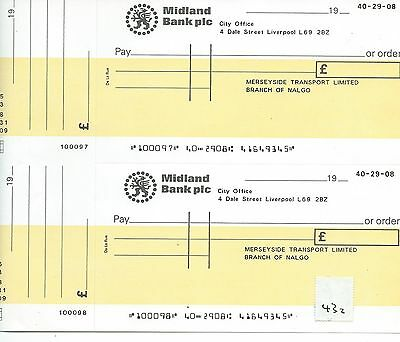 wbc. - CHEQUE - CH432 - UNUSED -1970+ MIDLAND BANK, LIVERPOOL + c'foil - pair