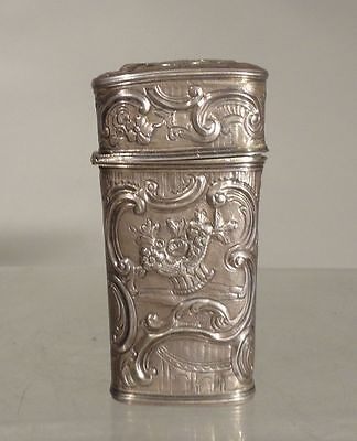 Antique Dutch Silver Repousse Etui Case Floral Design European 18th Century