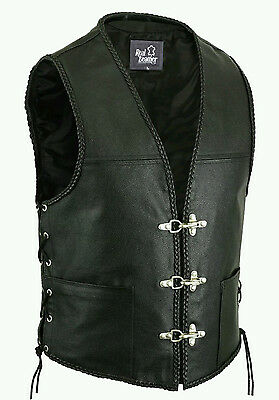 New Mens Real Leather Biker Waistcoat Fish Hook Buckle- Braided Sides Laces Vest