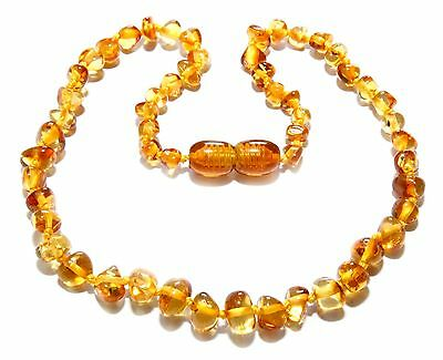Genuine Baltic Amber Beads Baby Teething Necklace Honey 12.2 - 13 in