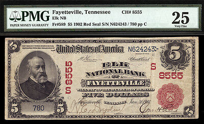 $5 1902 Red Seal Elk National Bank of Fayetteville, Tennessee CH# 8555 RARE TYPE