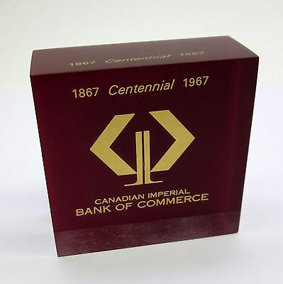 Vintage 1867 1967 Centennial CIBC PAPERWEIGHT Canadian Imperial Bank Of Commerce