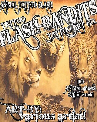 "Tattoo Flash ""animal Flash"" On Cd/dvd 100 Sheets With Line Work!"