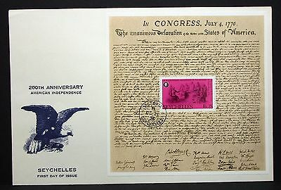 Seychelles FDC 200TH Anniversary American Independence Block Brief  (4356+