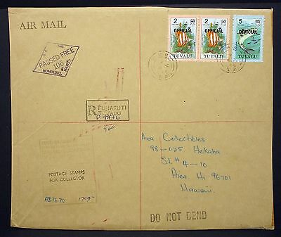 Tuvalu Airmail Cover Passed Free Stamp Pair Hawaii MiF Luftpost R-Brief (I-4314+