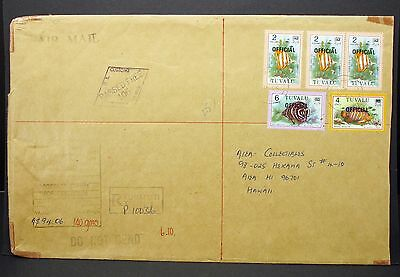 Tuvalu Airmail Cover Passed Free Stamp Paar Hawaii MiF Luftpost R-Brief (I-4315+