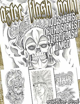 "Tattoo Flash ""aztec Flash"" On Cd/dvd 100 Sheets With Line Work!"