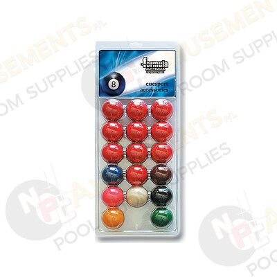 """Pack of Recreational Snooker BALLS 1 & 7/8"""" inch Set (1 & 7/8"""" White Cue Ball)"""