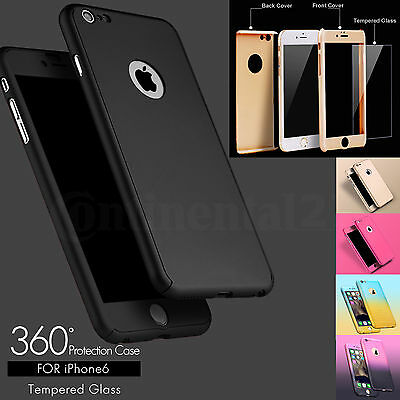 360° Full Hybrid Tempered Glass + Acrylic Hard Case Cover For iPhone 6 7 8 Plus