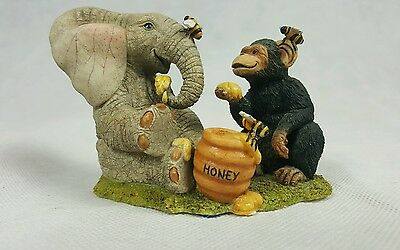 Country Artists Tuskers Love Is The Sweetest Thing Elephant Monkey Figurine