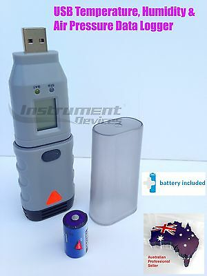 3in1 USB Temperature Humidity Atmospheric Air Pressure Data Logger with Display