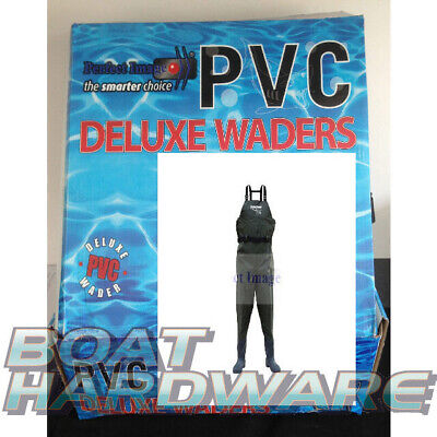SIZE 10  Waders Heavy Duty PVC Full Length w Boot  Prawning Fly Fishing Hunting