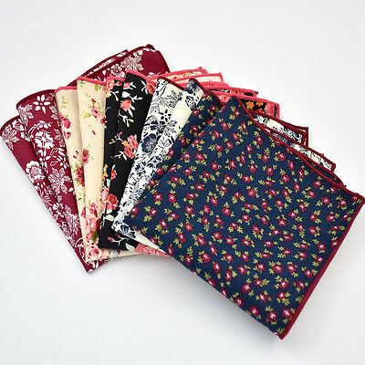 Paisley Floral Cotton Pocket Square Hankie handkerchief Wedding Formal Suit