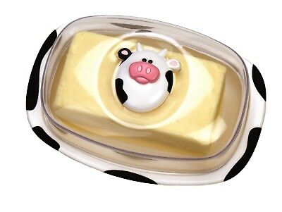 NEW JOIE MSC MOO MOO BUTTER DISH WITH LID Cow Container Holder Tray BPA FREE