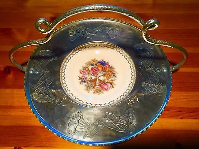 Farberware Aluminum Basket with Limoges Imperial Victorian Plate 22k