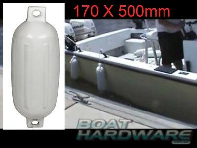 Inflatable Boat Yacht Fender 170x500mm Small White Ribbed Bumper Twin 25mm Eye