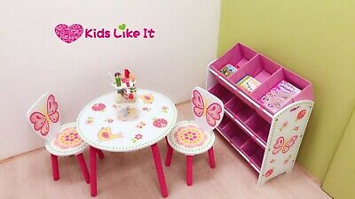 Girls PINK Wooden Butterfly TOY BOX Bench STORAGE UNIT SET Toy ORGANIZER SHELF