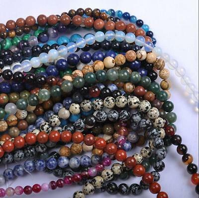 4mm 6mm 8mm 10mm 12mm Lots Natural Gemstone Round Spacer Loose Beads MultiColor