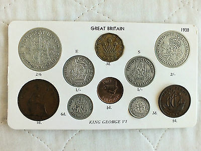George Vi 1938 10 Coin Circulation Year Set With Silver