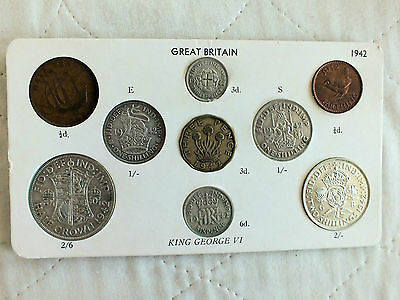George Vi 1942 9 Coin Circulation Year Set With Silver