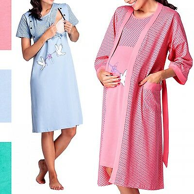 Happy Mama Women's Maternity Hospital Gown Robe Nightie Set Labour & Birth. 228p