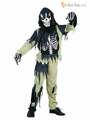 Boys Zombie Skeleton Fancy Dress Costume Halloween Party Kids Childrens Outfit