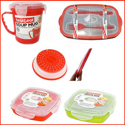 Airtight Microwave Heat & Eat Lunch Box Soup Mug Food Storage Pod Containers RED