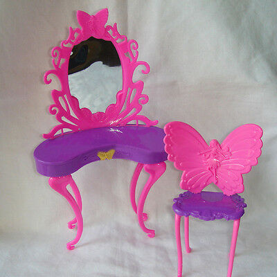 Butterfly Dressing Makeup Table Chair Bedroom Furniture For Barbie Dolls NEW