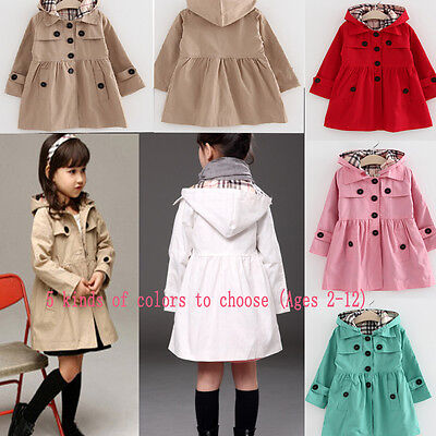 Girls Long Sleeve Casual Dress Jacket Kids Hooded Trench Coat Outerwear Age 2-13