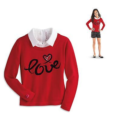 American Girl CL LE GRACES CITY SWEATER FOR GIRLS SIZE X-SMALL 6 Red Shorts NEW