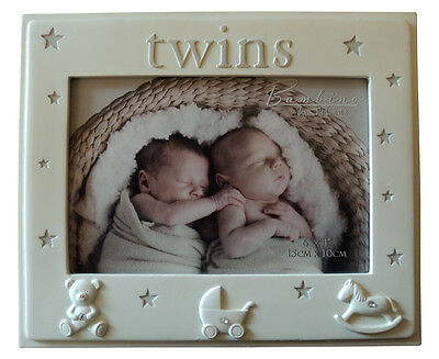 Unisex Cute 3 Icons Twins Photo Frame Newborn Keepsake Baby Shower Gift Picture