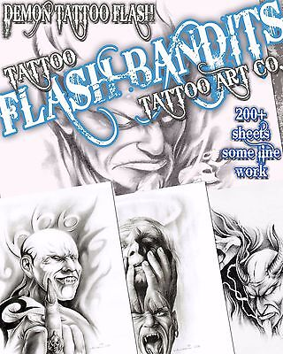 "Tattoo Flash ""demon Flash"" On Cd/dvd 200 Sheets With Line Work!"