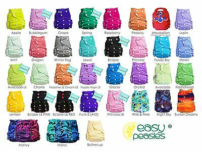 Easy Peasies One Size All in One Hemp cloth diaper lot of 5