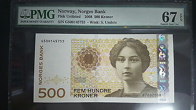 Norway Pick Unlisted 2009 500 Kroner PMG 67EPQ (Superb Gem UNC)