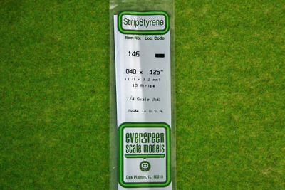 EVERGREEN STRIP STYRENE WHITE Plasticard .040 x .125 #146