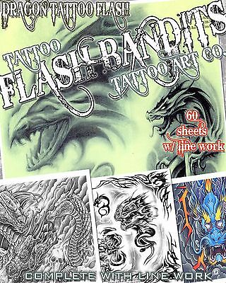 "Tattoo Flash ""dragon Flash"" On Cd/dvd 60 Sheets With Line Work!"