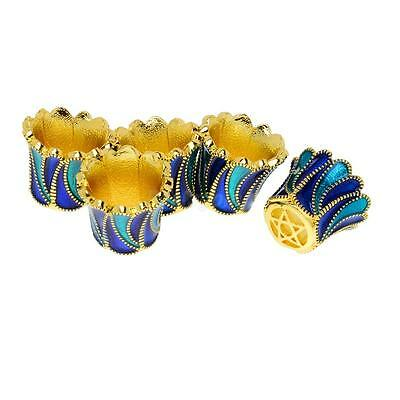 5pcs Gold Plated Copper Enamel Flowers End Bead Caps For Jewelry DIY Finding