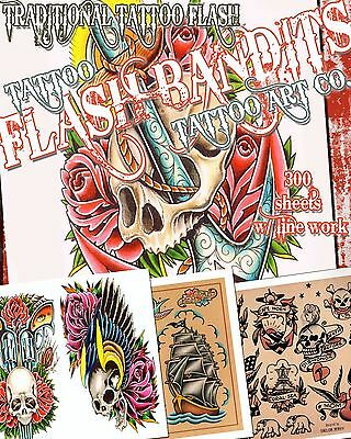 "Tattoo Flash ""traditional Flash"" On Cd/dvd 300+ Sheets With Line Work!"
