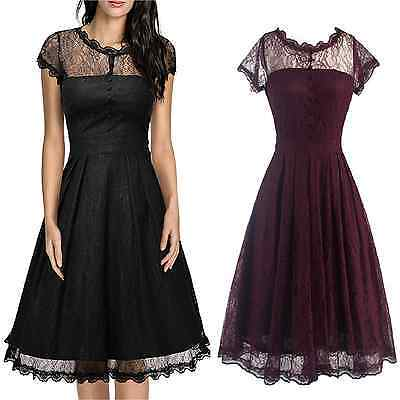 Women's 1950s Vintage Style Retro Evening Party Swing Classic Lace A-Line Dress