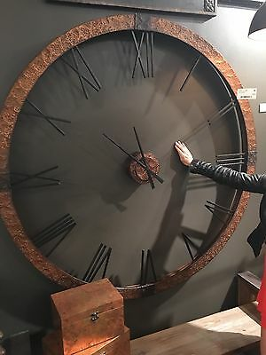 "Stately 60"" Hammered Copper Sheeting Gray Wash Round Wall Clock  Big Numbers"