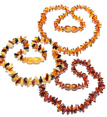 Genuine Baltic Amber Chips Baby Teething Necklace Mixed 13.8 - 14.6 in