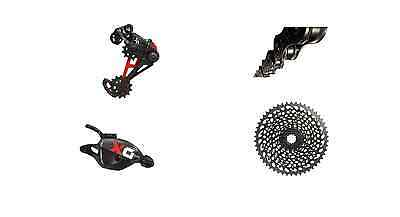 Sram X01 Eagle Drivetrain with Cassette, Shifter, Derailleur and Chain in Red