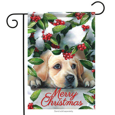 """Puppy & Berries Christmas Garden Flag Snow Winter Dog Lab Pet Holiday  13"""" x 18"""""""