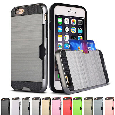 Shockproof Hybrid Rugged Hard Card Wallet Case Cover For iPhone 7 Plus 6 6s 5 SE
