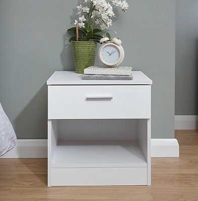 Bedside Cabinet 3 Drawer White Gloss Bedroom Furniture Chest of Drawers