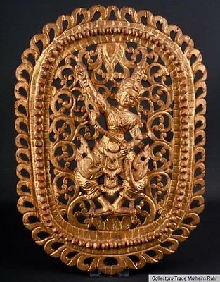 20. Jh. Holzrelief Rama - A Southeast Asian Carved Gilt Wood Panel Asie Du Sud