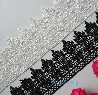 1/2/5 yard Vintage Embroidered Lace Edge Trim Ribbon Wedding Applique DIY Sewing