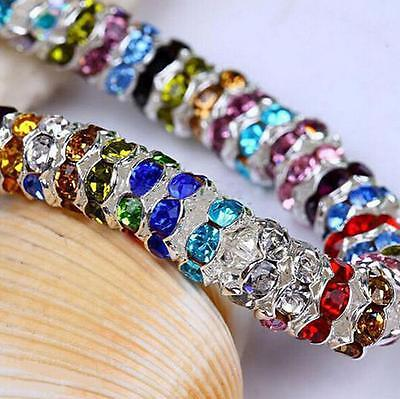 100 Silver Plated Czech Crystal Spacer Rondelle Beads Charm Findings Craft 8mm